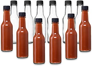 Hot Sauce Woozy Bottles, 5 Oz with Black Caps and Incerts - 24 Pack by PremiumVials