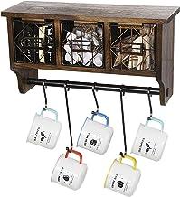 Butizone Rustic Wall Mounted Coat Rack Shelf with Hooks and Baskets, Wood Coffee Mug Storage and Display Organizer, Hangin...
