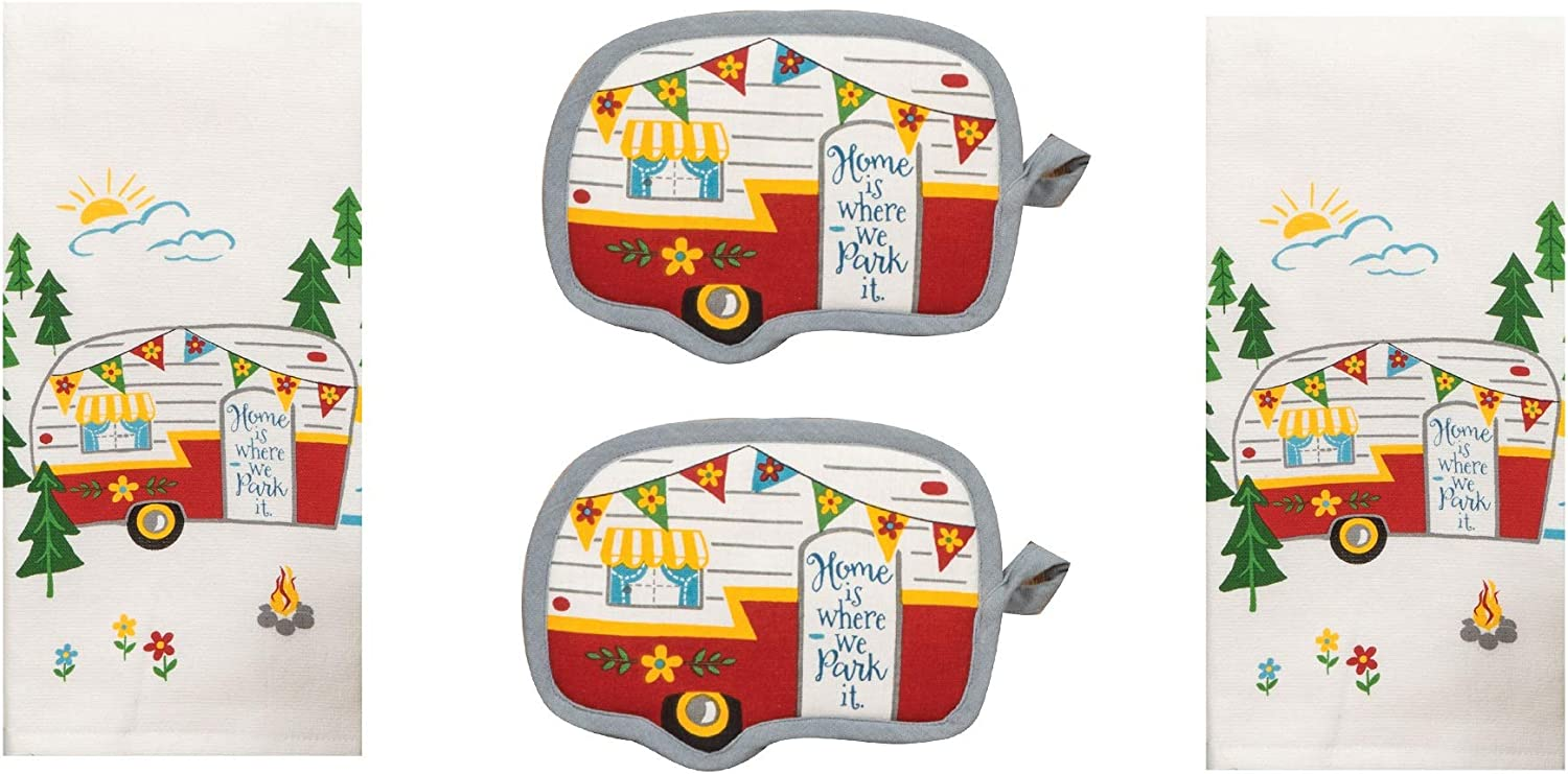 DHE 4 Piece Home is Where We Kitchen Towel Park It Happy New item Camper Max 54% OFF