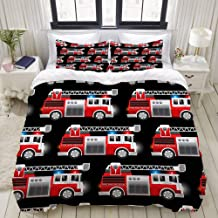 MOKALE Duvet Cover Set, 3D Red Fire and Rescue Truck, Decorative 3 Piece Bedding Set with 2 Pillow Shams, Single Size