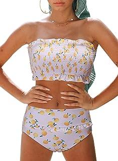 099c5d1a8a Aleumdr Womens 2 Pieces Bandeau Bikini Swimsuits Off Shoulder High Waist  Bathing Suit