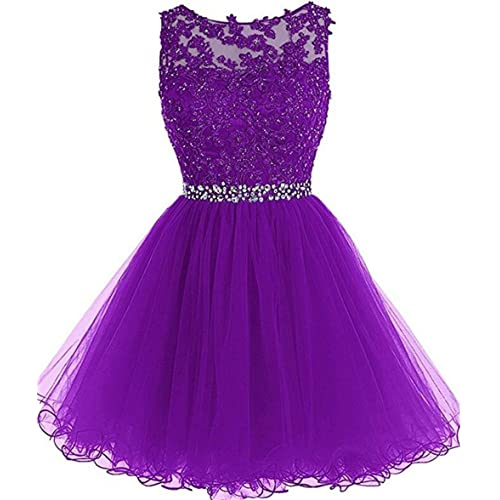 e56f181680 Dydsz Women s Short Prom Dress Homecoming Dresses Beaded Appliques Party  Cocktail Gown D126