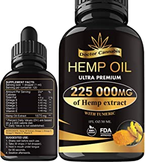 Hemp Oil, 225 000mg of Pure Extract, Sleep, Mood and Pain Relief Supplement, Oil for Relax, 100% Organic Hemp Drops, 4 Fl oz. (120ml)