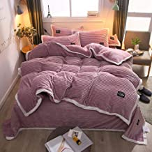 Check Duvet Cover With Pillow Case 4Pcs 100% Brushed Cotton Flannelette Tartan Thermal Bedding Set Striped Quilt Duvet Cover And 2 Pillowcase Bed Set Grey Black - Double Multi-Colour Queen King Size E