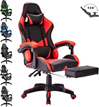 Advwin Executive Gaming Chair Office Computer Leather Racer Recliner Chair Footrest Red (65 * 65 * 127-135cm)