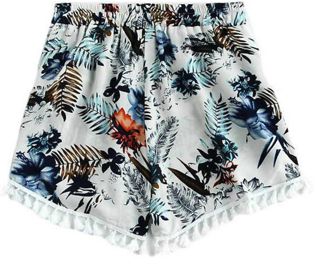 JAUEIDE Women's Printed Tassel Bohemian Short Beach Pants Summer Casual Pants