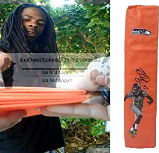 Richard Sherman Seattle Seahawks Autographed Hand Signed Full Size Photo Football Touchdown End Zone Pylon with Exact Proof Photo of Signing and COA