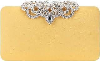 Fawziya Crown Clutch Purse Bling Hard Box Rhinestone Crystal Clutch Bag-Lemon Yellow