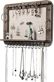 JackCubeDesign Wall Mounted Rustic Jewelry Organizer, Jewelry Wall Hanger with 29 Hooks & Rod for Necklace Earring Bracele...