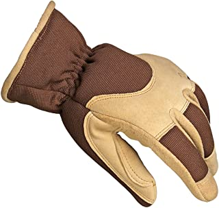 OZERO Winter Gloves Insulated Work Glove with Deerskin Suede Leather Shell and Thermal Fleece Lining Inserted Thinsulate Insulated Cotton - Keep Warm in Cold Weather for Women and Men (Brown,Medium)