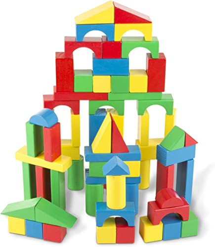 Melissa & Doug 481 Wooden Building Blocks Set - 100 Blocks in 4 Colors and 9 Shapes