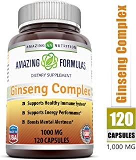 Amazing Formulas - Ginseng Complex Dietary Supplement –1000 mg of 4:1 Korean Ginseng Extract- 120 Capsules (Non-GMO) - Promotes Energy Production - Supports Mental Health*