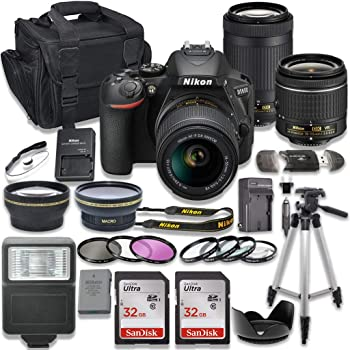 Nikon D5600 DSLR Camera with AF-P 18-55mm VR Lens + Nikon AF-P 70-300mm f/4.5-6.3G ED Lens + 2pc SanDisk 32GB Memory Cards + Accessory Kit