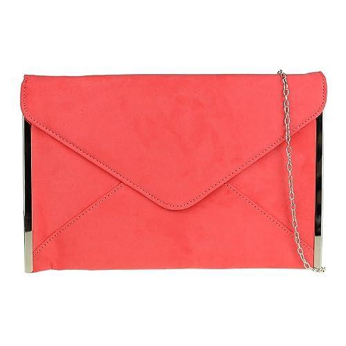 1badde682f Girly HandBags Elegant Faux Suede Clutch Bag Envelope Plain Design Sides  Frame Wedding Prom