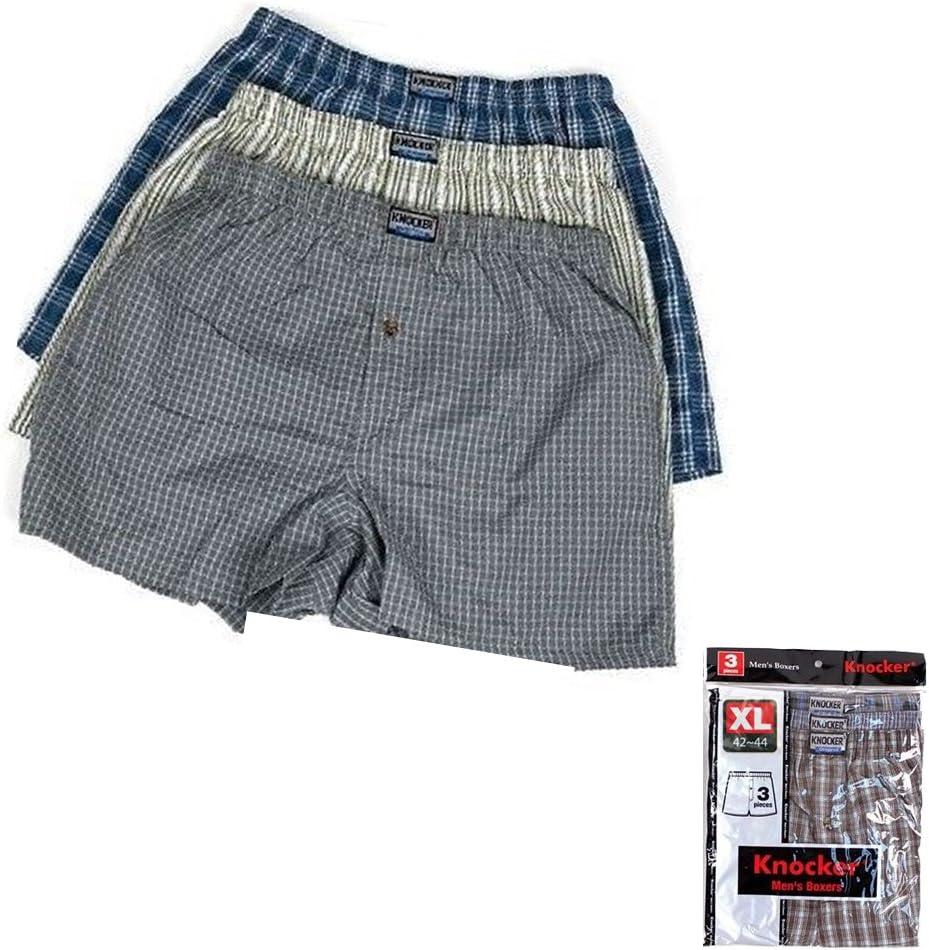 3 Men Boxers Plaid Shorts Underwear Cotton Classic Boxer Knocker Briefs Comfy XL