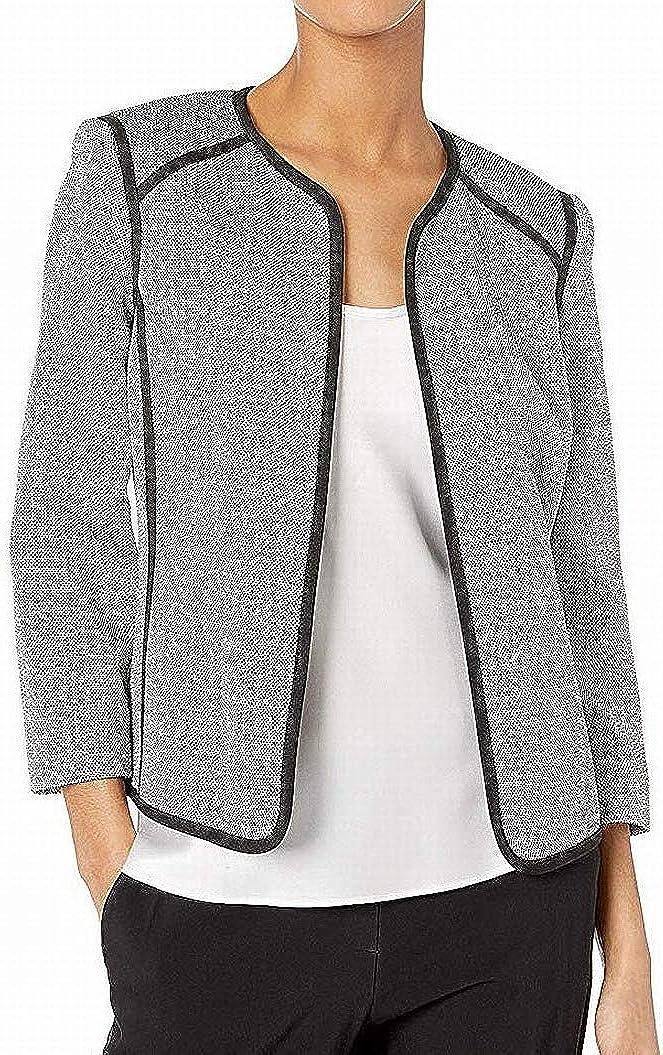 Kasper Women's Jewel Now free shipping Max 90% OFF Neck Fly Away Jacket Bla with Stretch Tweed