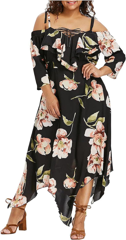 HTHJSCO Plus Size Dress for Women Off Shoulder Ruffle Floral Printed Irregular Hem Maxi Dress Casual Beach Party Dresses