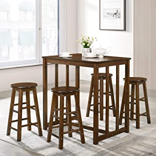 P PURLOVE 5Pcs Dining Set Retro Style Solid Wood Kitchen Table and 4 Stools, Walnut