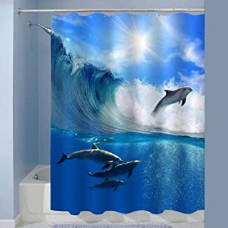 MitoVilla Ocean Dolphin Shower Curtain, a Flock of Playful Dolphins Swimming in The Sea and Leaping Out from Big Sea Surfing Wave Bathroom Decor, Waterproof Bathroom Accessories, Blue, 72 W x 78 L