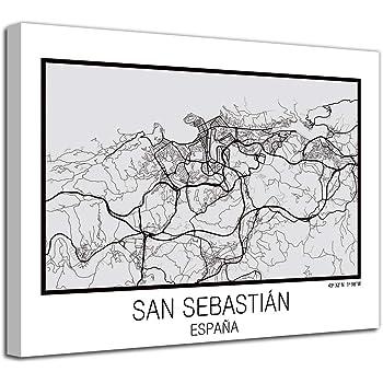 Foto Canvas Cuadro Mapa San Sebastián España en Lienzo Canvas Impreso Decorativo | Cuadros Modernos: Amazon.es: Hogar