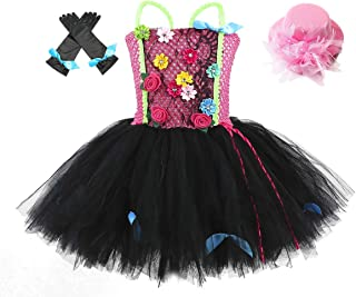Birthday Party Rock Star Costumes for Girls Halloween Role Play Tutu Dress Outfit for Kids with Headband and Gloves