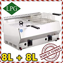 Dual Tank 8+8 lt. Total:16 LT. Capacity, Stainless Steel Countertop Tabletop Propan Propane (LPG) Gas Deep Fryer with 2X Basket and 2X Lid Included, Commercial Industrial Catering Restaurant