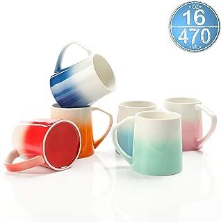 TEANAGOO MS025W Porcelain Mugs - 16 Ounce for Coffee, Tea, Cocoa, Set of 6, Warm Assorted Colors