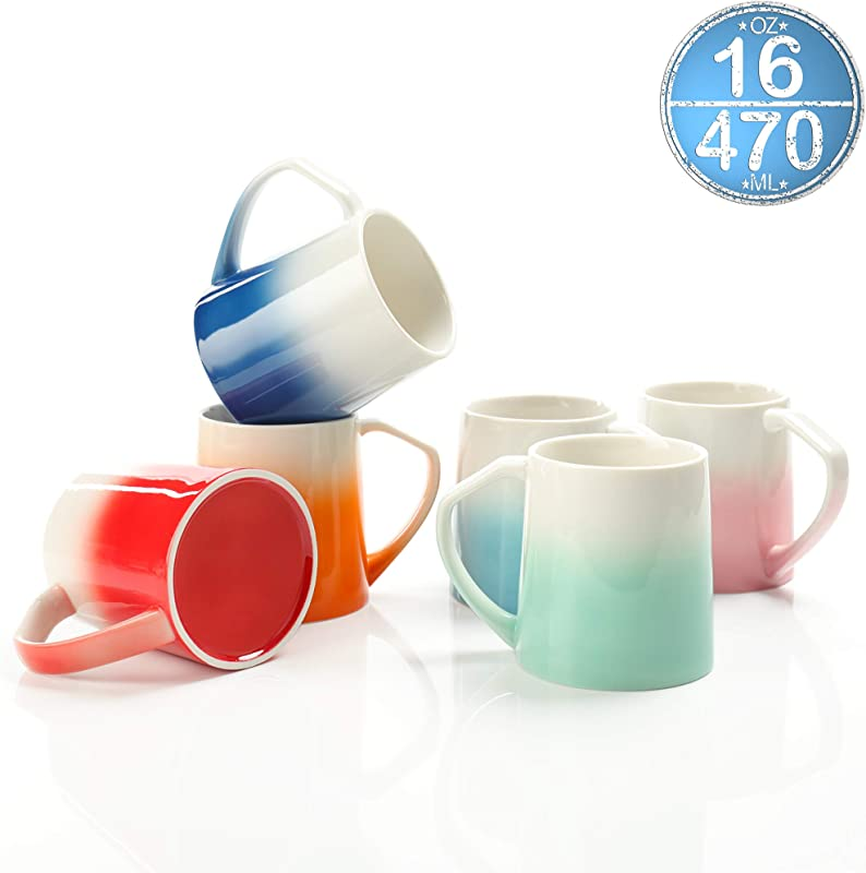 TEANAGOO MS025W Porcelain Mugs 16 Ounce For Coffee Tea Cocoa Set Of 6 Warm Assorted Colors