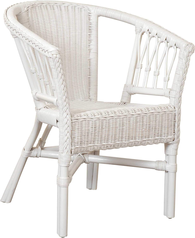 Korb.outlet Stapelbarer Rattansessel, Rattanstuhl Bistro-Sessel Balkonsessel in der Farbe Weiss