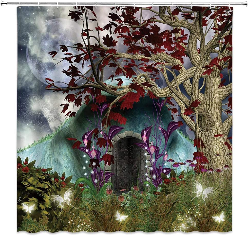 WZFashion Fantasy Shower Curtain Mystical Anime 希望者のみラッピング無料 訳あり商品 Tree Mygical But