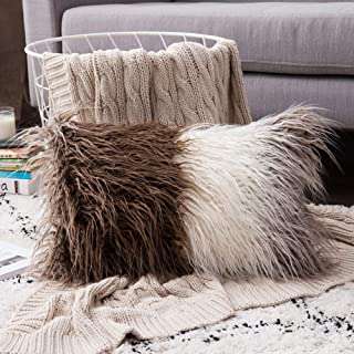 MIULEE Decorative Throw Pillow Covers Gradient Ombre Plush Faux Fur Luxury Deluxe Fluffy Super Soft Cushion Case Pillowcase Sham for Couch Sofa Car Bedroom 12x20 Inch 30x50 cm Gradient Coffee