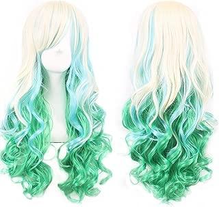 Long Curly Hair Wigs for Women Beige / Light Green Wig with Bangs BU036C
