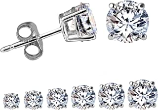 Women Round Cut Cubic Zirconia Stud Earrings Stainless Steel White Gold Plated Earring Studs 6 Pairs 3mm-8mm
