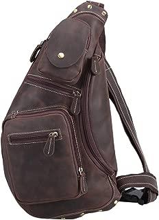 Texbo Genuine Cowhide Leather Cross Body Sling Bag Backpack Bag
