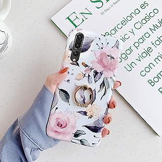 Surakey Kompatibel för Huawei P20 Pro fodral, kristallklart silikon blommigt fodral med bling ringhållare ultratunn mjuk g...