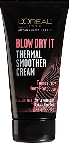 L'Oreal Paris Advanced Hairstyle BLOW DRY IT Thermal Smoother Cream, 5.1 fl. oz.