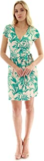 Women Cap Sleeve Faux Wrap Print Dress
