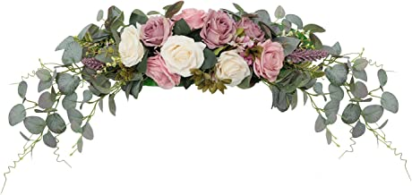 HiiARug Artificial Rose Flower Swag, 31 Inch Decorative Swag with Dusty Rose Hydrangeas Eucalyptus Leaves for Home Room Ga...