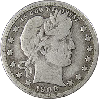 1908 D 25c Barber Silver Quarter US Coin Genuine