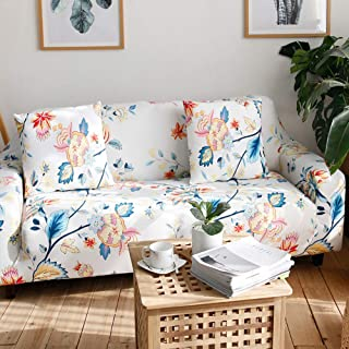 Umineux Printed Sofa Cover High Stretch Sofa Slipcovers Couch All Cover Furniture Protector for 3 Cushion Couch with Two Pillow Covers (Sofa-3 Seater, Abutilon)