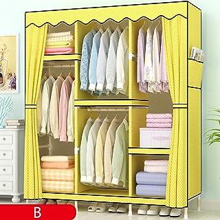 wardrobe Armoire Simple, Armoire Verticale Portable en Bois Massif, Armoire de Rangement pour vêtements de Maison, 130 * 4...