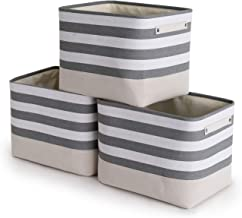 TheWarmHome Foldable Storage Basket with Strong Cotton Rope Handle, Collapsible Storage Bins Set Works As Baby Storage, To...