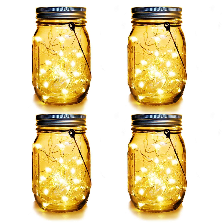 WERTIOO 4 Pack Solar Mason Jars Lights