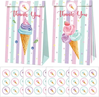 Cieovo 24 Pack Summer Ice Cream Party Favor Bags Paper Gift Bags, Goodie Candy Treat Bags with Stickers for Ice Cream Them...