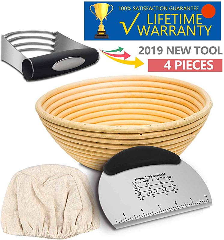 9 Inch Banneton Proofing Basket KYONANO Proofing Basket With Linen Liner Cloth Bread Proofing Basket With Dough Scraper Dough Blender Essential Tool KIt For Sourdough Bread