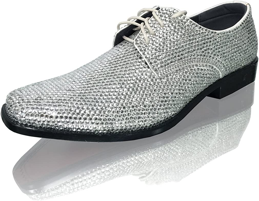 Marc Defang New York Mens Clear Crystal Celebrity Groom Wedding Leather Shoes