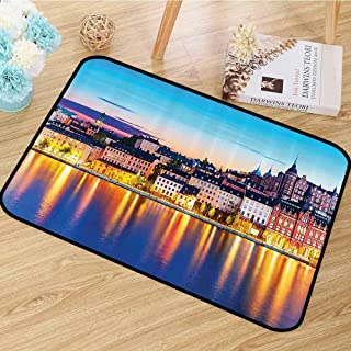Wanderlust Decor Collection Area Floor Rugs Evening View of The Old Town Pier Architecture in Sodermalm District of Stockholm Image Anti-Static W55 x L63 Yellow