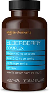 Amazon Elements Elderberry Complex, Immune System Support, 60 Berry Flavored Lozenges, Elderberry 100mg, Vitamin C 103mg, ...