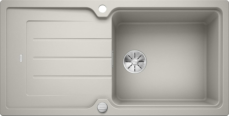 Weiß Classic Neo XL 6 S, Küchenspüle mit XL-Becken, aus Silgranit PuraDur, reversibel, Perlgrau   mit InFino-Ablaufsystem, inklusive Ablauffernbedienung; 524130