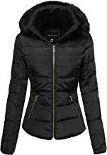 Made by Emma Women's Junior Fit Quilted Puffer Jacket with Detachable Faux Fur Hood